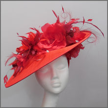 Load image into Gallery viewer, Floral Red Disc Fascinator for Derby/Ladies Day