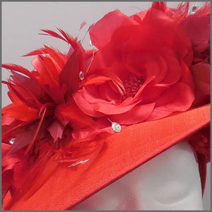 Floral Red Disc Fascinator for Derby/Ladies Day