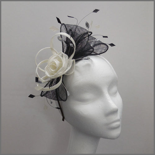 Floral Rose Wedding Guest Fascinator Black & Ivory