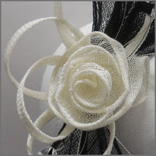 Load image into Gallery viewer, Floral Rose Wedding Guest Fascinator Black & Ivory