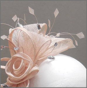 Floral Rose Wedding Guest Fasscinator in Blush/Nude