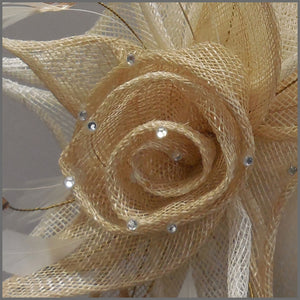 Floral Rose Wedding Headpiece in Champagne & White