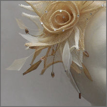 Load image into Gallery viewer, Floral Rose Wedding Headpiece in Champagne & White