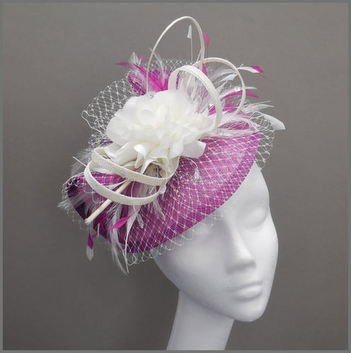 Floral Wedding Disc Fascinator in Peony Pink & Ivory