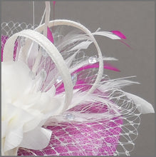 Load image into Gallery viewer, Floral Wedding Disc Fascinator in Peony Pink & Ivory