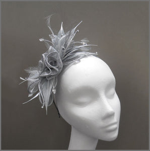 Floral Wedding Fascinator in Metallic Silver