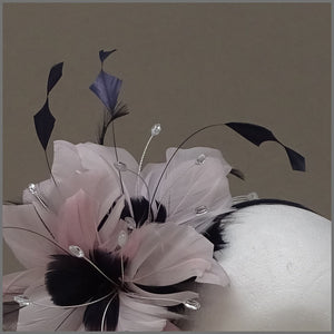 Floral Wedding Fascinator in Pale Pink & Navy Blue