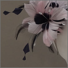 Load image into Gallery viewer, Floral Wedding Fascinator in Pale Pink & Navy Blue