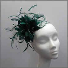 Load image into Gallery viewer, Flower Fascinator in Emerald Green for Race Day
