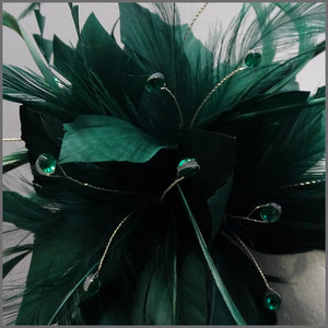 Flower Fascinator in Emerald Green for Race Day