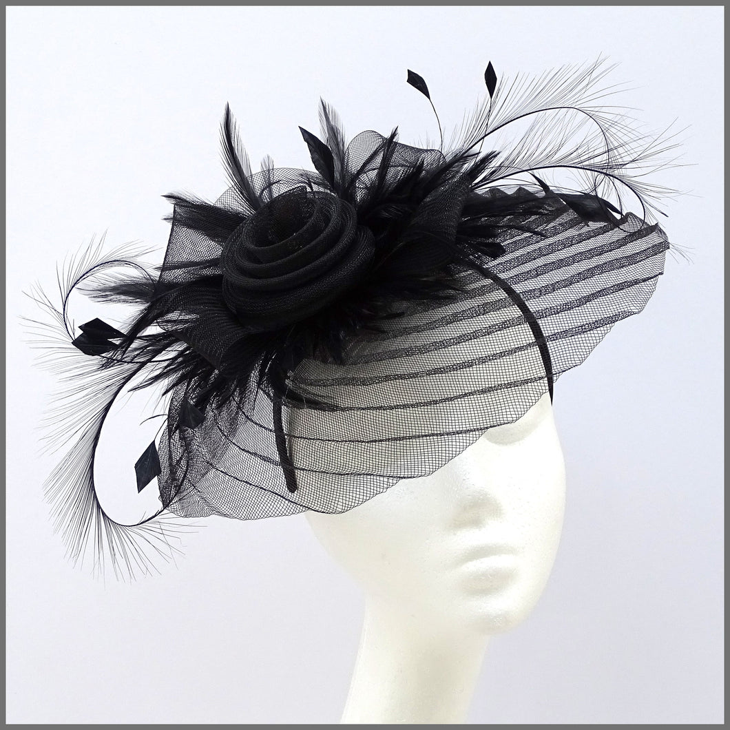 Black Pleated Crinoline Fascinator for Formal Event