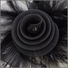 Load image into Gallery viewer, Black Feather Crinoline Fascinator for Ladies Day