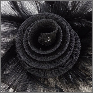Black Feather Crinoline Fascinator for Ladies Day
