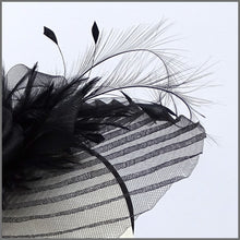 Load image into Gallery viewer, Black Feather Crinoline Fascinator on Headband