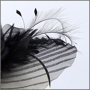 Black Feather Crinoline Fascinator on Headband