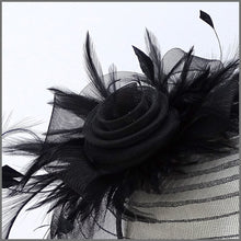 Load image into Gallery viewer, Black Crinoline Fascinator with Feathers & Ostrich Quill