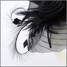 Load image into Gallery viewer, Black Pleated Crinoline Headpiece for Formal Event