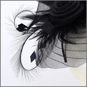 Black Pleated Crinoline Headpiece for Formal Event