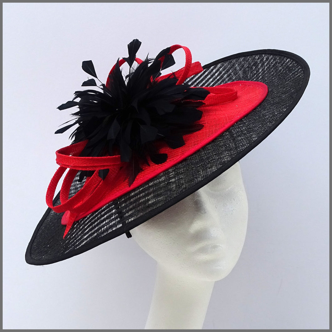 Black & Red Flower Disc Fascinator for Formal Event