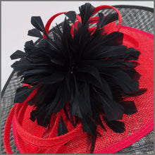 Load image into Gallery viewer, Black & Red Feather Flower Disc Fascinator for Formal Event