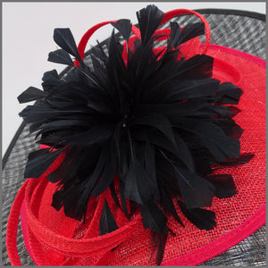Black & Red Feather Flower Disc Fascinator for Formal Event
