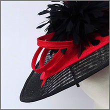 Load image into Gallery viewer, Black & Red Sinamay Disc Fascinator on Headband