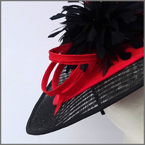 Black & Red Sinamay Disc Fascinator on Headband