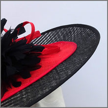 Load image into Gallery viewer, Black & Red Sinamay Wedding Hatinator