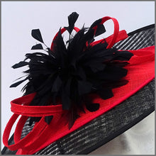 Load image into Gallery viewer, Black & Red Feather Disc Fascinator for Royal Ascot or Kentucky Derby