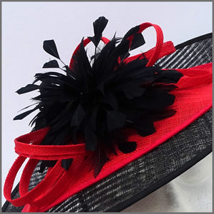 Black & Red Feather Disc Fascinator for Royal Ascot or Kentucky Derby
