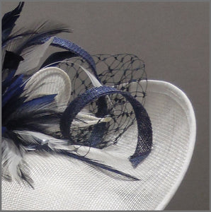 Formal Flower Hatinator in Navy Blue & Ivory