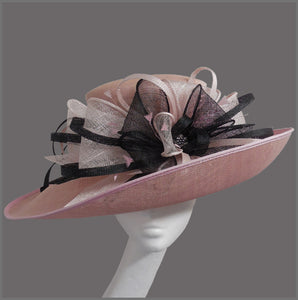 Formal Ladies Wedding Hat in Pale Pink & Black