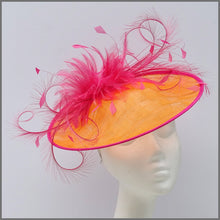 Load image into Gallery viewer, Formal Race Day Feather Hatinator in Orange & Raspberry