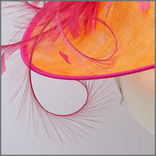 Load image into Gallery viewer, Formal Ladies Day Feather Hatinator in Orange & Raspberry