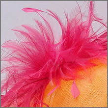 Load image into Gallery viewer, Formal Disc Fascinator on Headband in Orange & Raspberry