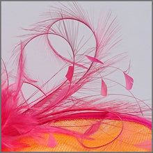 Load image into Gallery viewer, Formal Event Disc Fascinator in Orange & Raspberry