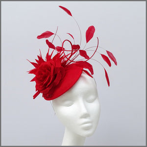 Red Rose Mini Disc Feather Fascinator for Formal Event