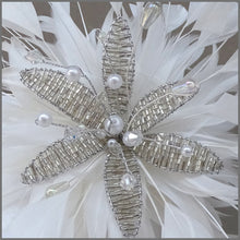 Load image into Gallery viewer, White Feather Spray Fascinator with Crystal Flower