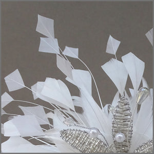 White Feather Spray Fascinator with Crystal Flower