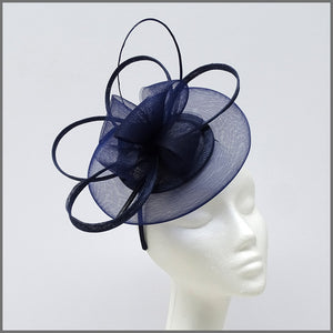 French Navy Occasion Disc Fascinator with Loops