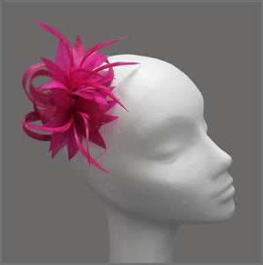 Fuchsia Floral Feather Wedding Fascinator Hair Clip