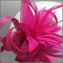 Load image into Gallery viewer, Fuchsia Floral Feather Wedding Fascinator Hair Clip