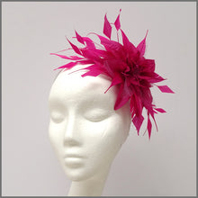 Load image into Gallery viewer, Fuchsia Pink Flower Feather Fascinator for Formal Event