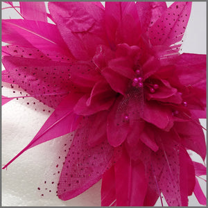 Fuchsia Pink Flower Fascinator for Wedding Event