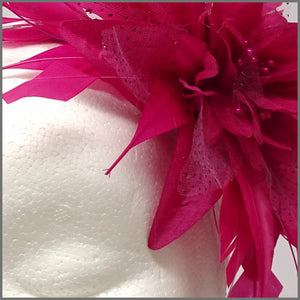 Fuchsia Pink Flower Feather Fascinator for Formal Event