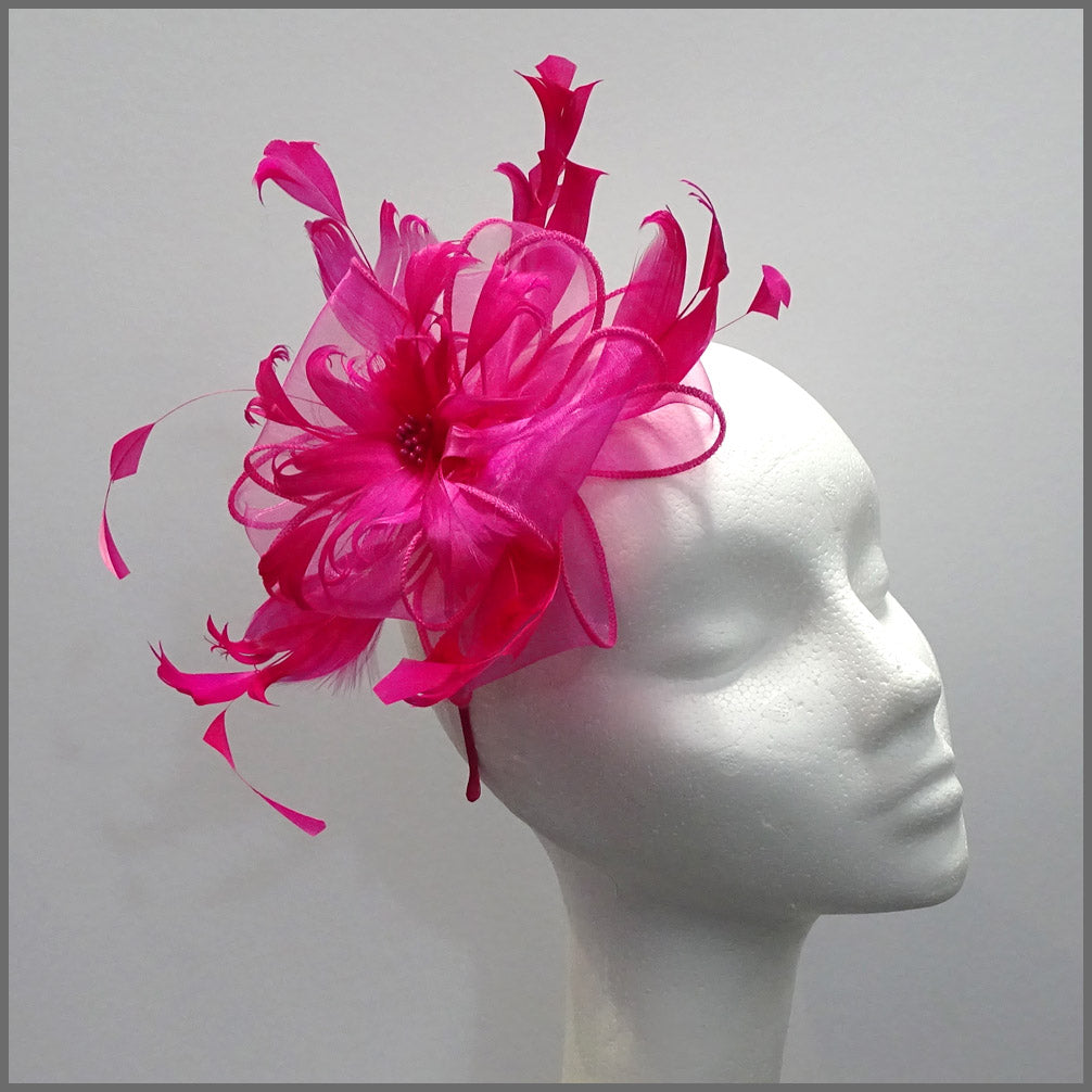 Fuschia Pink Floral Feather Fascinator for Races