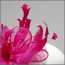 Load image into Gallery viewer, Fuschia Pink Floral Feather Fascinator for Races