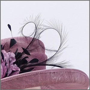 Heather Pink & Navy Mother of the Bride Wedding Hat