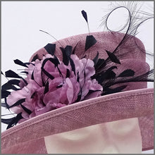 Load image into Gallery viewer, Heather Pink & Navy Mother of the Bride Wedding Hat