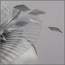 Load image into Gallery viewer, Elegant Pleated Crinoline Occasion Fascinator in Silver
